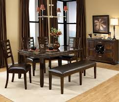 dining table with marble top and l shaped black leather bench with