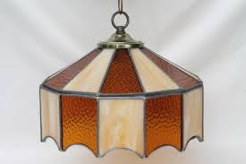 vintage leaded glass shade light fixture amber stained throughout