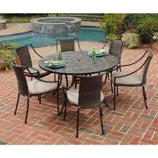 round patio stone home styles stone harbor 7 piece round patio dining set with taupe