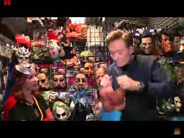 conan finds his own mask at a halloween costume shop youtube