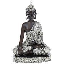 medium thai silver finish sitting buddha ornament statue h27cm