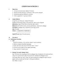 plan about subject pronoun grade 3
