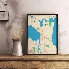 Seattle Washington Map Premium Map Poster Of Seattle Washington Subtle Colorful
