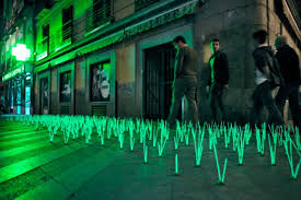 pharmacy herbs glowing grass installation highlights light pollution