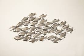 wall ideas design sculptures schools fish metal wall