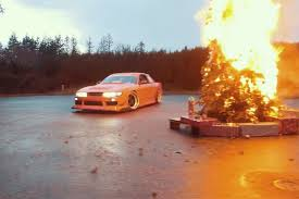 nissan christmas watch this nissan s13 drift around a burning christmas tree