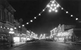 Main Street Lighting Christmas Lights Illuminate Main Street In 1920s Watsonville Ca