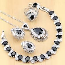 sterling silver necklace set images 925 sterling silver jewelry black stone white cz jewelry sets for jpg