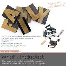 diy photo display wood pallet board kit and family wood block