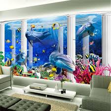 dolphin home decor 3d wallpaper home decor photo background underwater dolphin coral