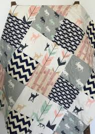 Deer Crib Bedding Baby Quilt Moose Bow And Arrow Fawn Woodland Birch