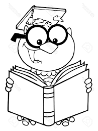 best 15 outlined owl teacher cartoon character reading book stock