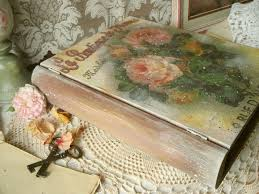 wooden box vintage book decoupage eco friendly artisan home decor