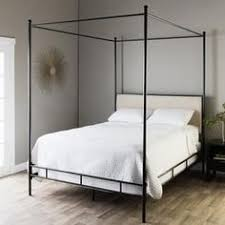 Contemporary Canopy Bed Dhp Soho Modern White Metal With Black Linen Queen Canopy Bed