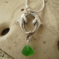 green drop necklace images Sterling dolphins charm with green sea glass drop necklace jpg