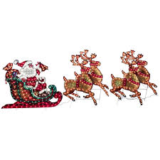 Christmas Outdoor Decor Holographic Santa Sleigh Deer outdoor lighted sleigh and reindeer sacharoff decoration