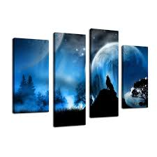 themed artwork canvas wolf howling in midnight 4 painting large wall