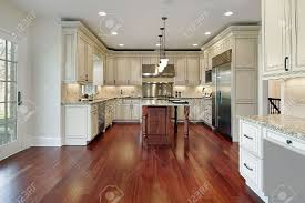 kitchen in construction home with cherry wood