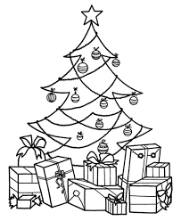 coloring pages christmas tree presents christmas fun