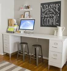 metal legs add style to this all white file desk notice the support bracket mounted