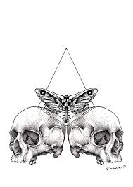 hipster tattoo illustration triangle moth skulls rasspink