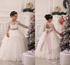 long sleeve flower dresses wedding gowns bow sash beads