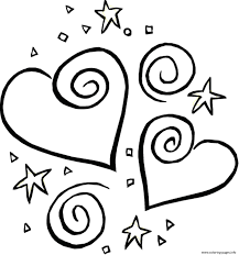 stars and heart valentine 316d coloring pages printable