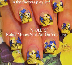 violets and orchid nail art design tutorial fun flower nails