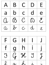 lettere straniere in corsivo maiuscolo e minuscolo un semplice tabellone con le lettere dell alfabeto nei quattro