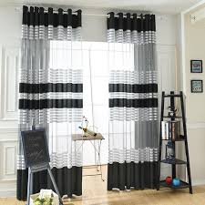 striped bedroom curtains elegant black white polyester cloth modern simple striped bedroom