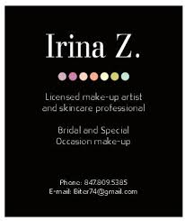 freelance makeup artist business card irina z make up artist business cards design