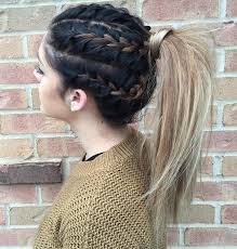 hair braided into pony tail hair style fashion