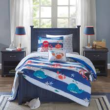 Fish Duvet Cover Blue White Sea Life Ocean Fish Bedding Twin Or Full Comforter Kids