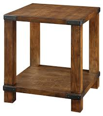 furniture of america titus dark oak end table with metal hardware