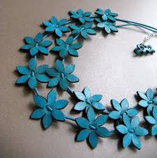 leather flower necklace images Turquoise leather flowers necklace by eninaj on etsy leather jpg