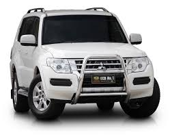 mitsubishi pajero 2016 white mitsubishi pajero nx 11 14 on ecb alloy bullbar nudge bars