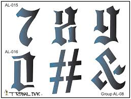 airbrush tattoo stencil set old english numbers large 08