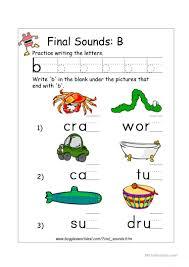 3 free esl ending sound b worksheets