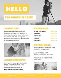 Freelance Photographer Resume Sample by Yellow Photographer Creative Resume Templates By Canva