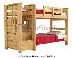 Bunk Bed Drawing Wooden Bunk Bed With A Lattice Framework And Stairs