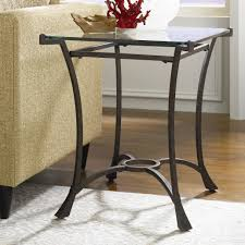 Glass End Tables For Living Room Contemporary Metal Rectangular End Table With Glass Top By Hammary