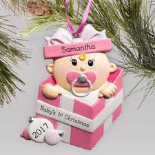 Baby Pink Christmas Decorations Personalized Baby U0027s First Christmas Ornaments Baby Ornaments