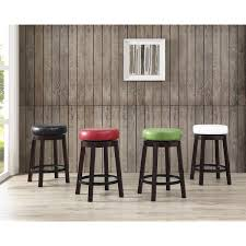 swivel counter height bar stool with leather seat and metal foot