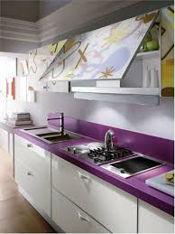 kitchen ideas with unique purple countertops and ktchen storage