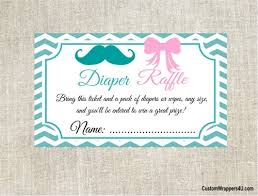 baby shower raffle shower raffle ticket gender reveal mustache and bow