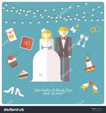 Design Wedding Invitation Cards Wedding Invitation Card Template Flat Design Stock Vector