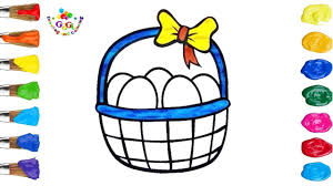 egg egg basket drawing and coloring page for kids youtube