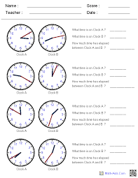 elapsed time worksheets this site generates clock times in