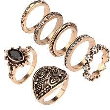 ring set 7pcs set rings sets for women ethnic jewelry antique gold