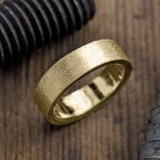 brushed gold wedding band 6mm 14k yellow gold mens wedding band brushed matte point no
